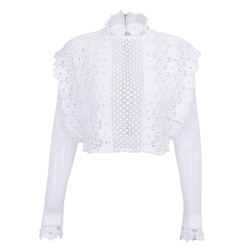 Hollow Out Mesh Transparent Long Sleeve Blouse Top - Valerian Boutique