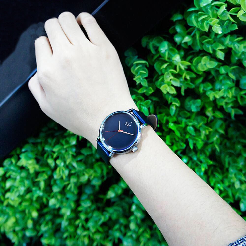 Leather Navy Water/Shock Resistant Watch - Valerian Boutique
