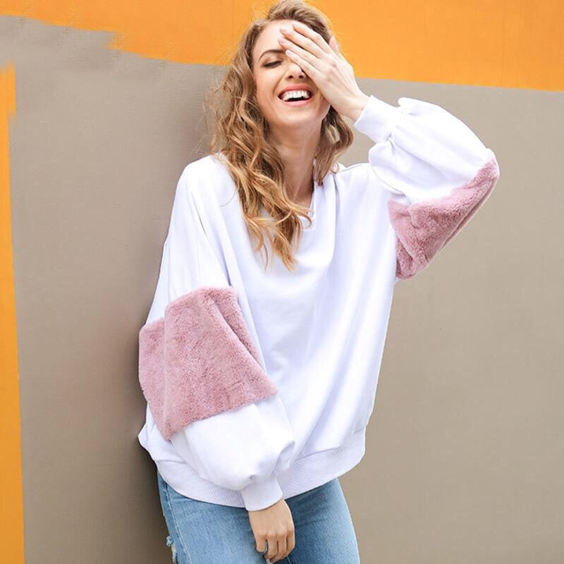 Oversize Patchwork Long Sleeve Pullover Sweatshirt - Valerian Boutique