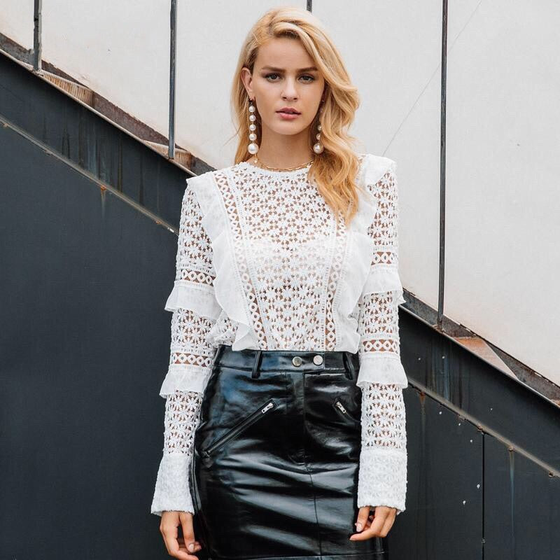 Lace Hollow Out White Blouse - Valerian Boutique