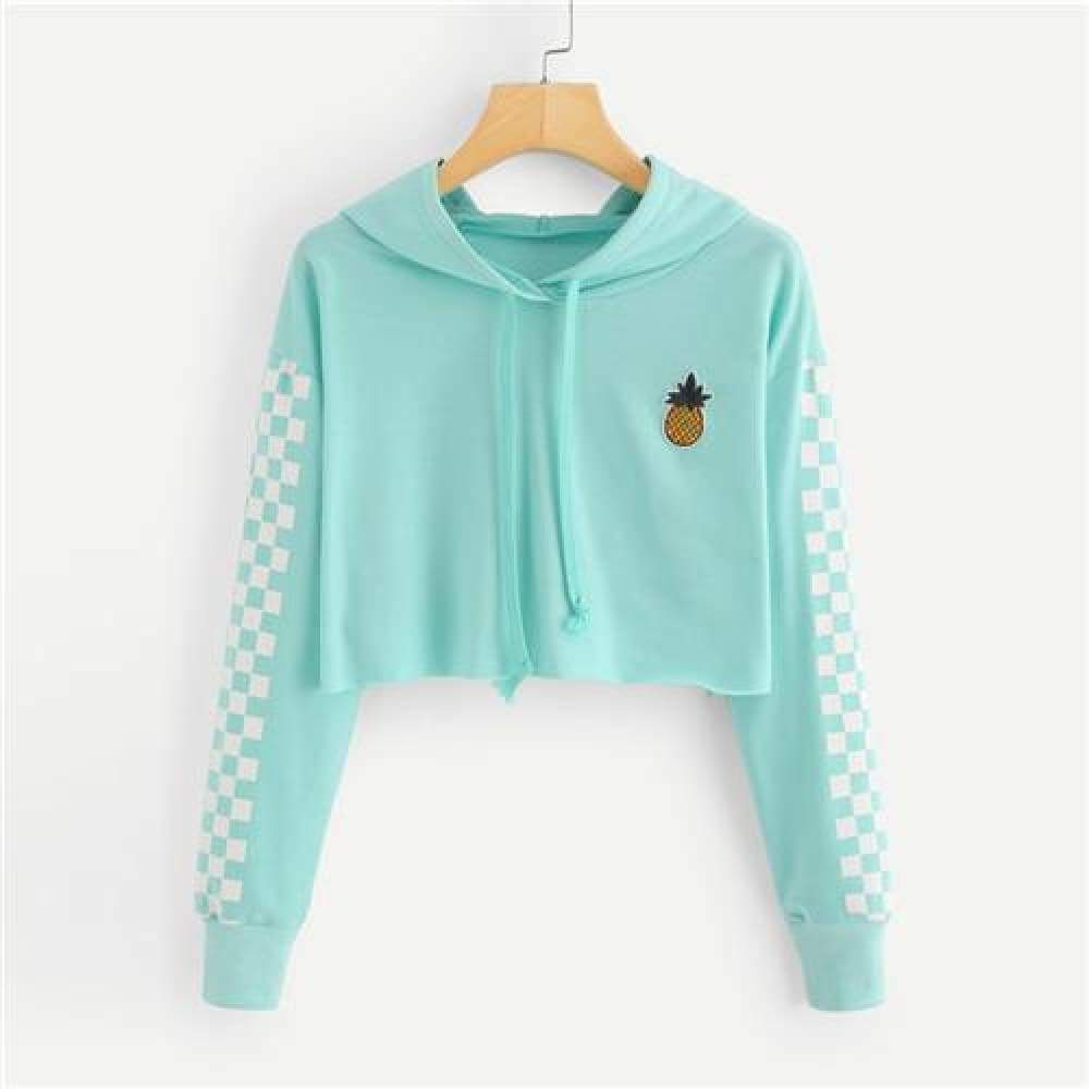 Sweatshirt Pineapple Embroidered Gingham Hoodies - Valerian Boutique