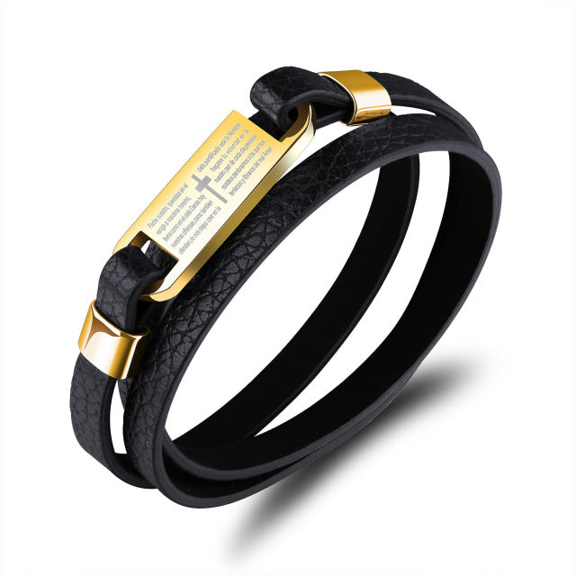 Steel Bracelet Genuine Leather Bracelets - Valerian Boutique