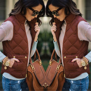 Winter Slim Sleeveless Vest Jacket Zipper Waistcoat