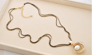 Pearl Multi-layer plating Long Necklace - Valerian Boutique