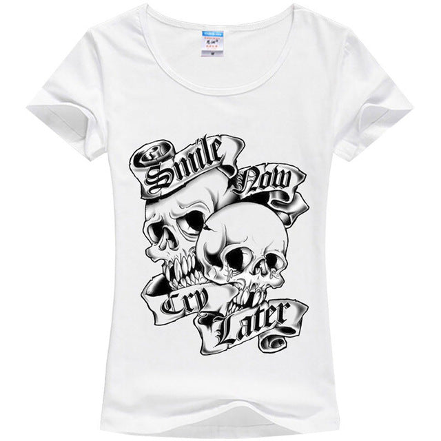 Short Sleeve Slower Skull Punk T shirt/Tee - Valerian Boutique
