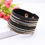 Rhinestone Leather Bracelet - Valerian Boutique