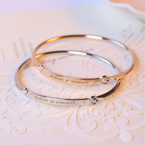Lacer Engraving Personalized Initials  Silver & Gold Plated Bracelets Bangles - Valerian Boutique