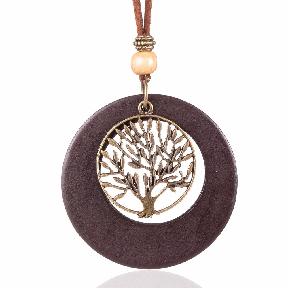 Life Tree Wooden Long Necklace Pendant - Valerian Boutique