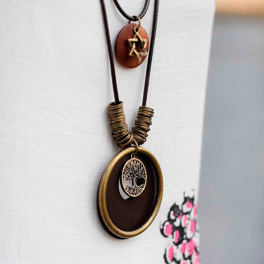 Wooden Tree Tag pendant Long necklace - Valerian Boutique