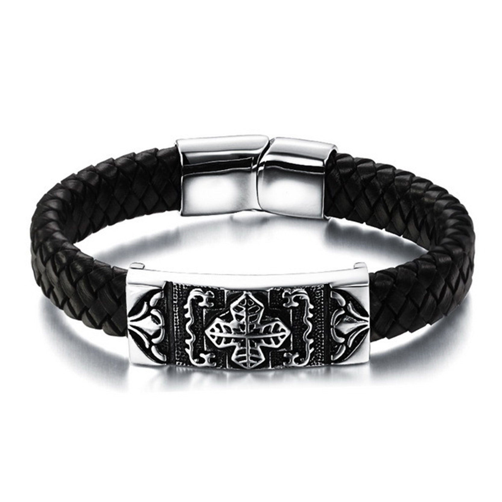 Stainless Steel Genuine Leather Men Bracelet - Valerian Boutique