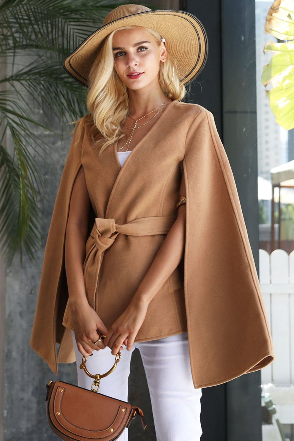 V Neck Cape Coat Long Sleeve - Valerian Boutique