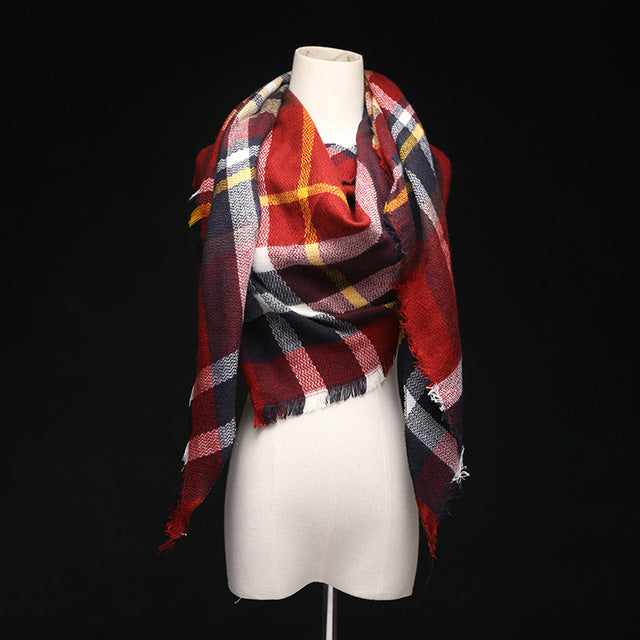 Plaid Acrylic Cashmere Blanket Scarf - Valerian Boutique