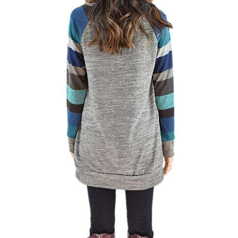 Long Sleeve O Neck Striped Patchwrork T-Shirt - Valerian Boutique