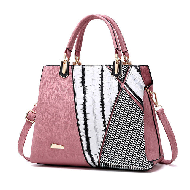 Women bag Patchwork Striped tote bag Alligator Leather Handbags - Valerian Boutique