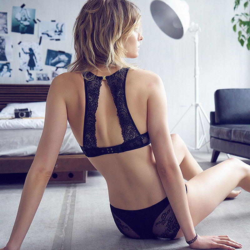 WirelessTransparent Lace Bralette + Panty Set - Valerian Boutique