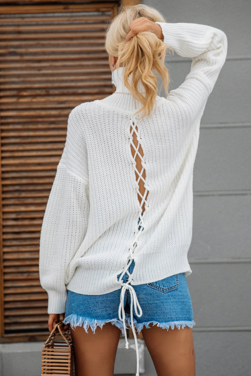 Lace Up Knitted Turtleneck  Long Sleeve Pullover Shirt - Valerian Boutique