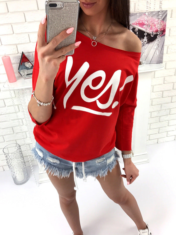 Long Sleeves Yes Letter Print Tops & T-Shirt - Valerian Boutique