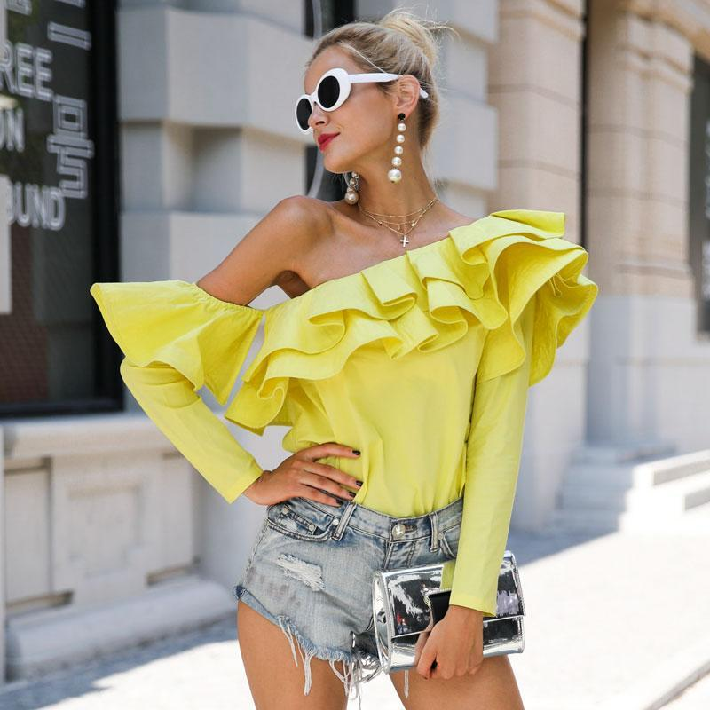 One Shoulder Ruffles Long Sleeve Shirt Tops - Valerian Boutique