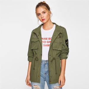 Drawstring Waist Patch Sleeve Utility Jacket - Valerian Boutique