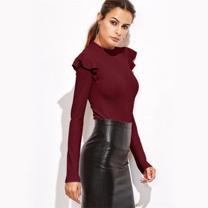 Mock Neck Long Sleeve Bodysuit - Valerian Boutique