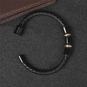 Leather Bracelets Black Gold Stainless Steel - Valerian Boutique