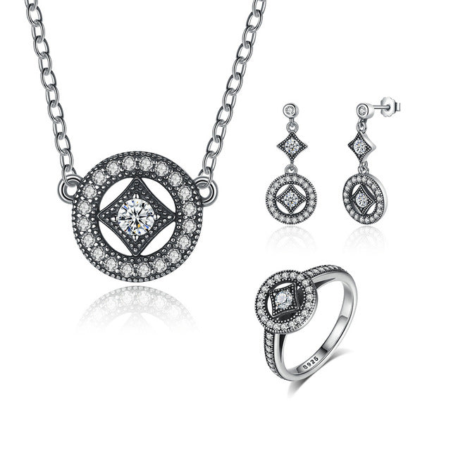 Genuine 925 Sterling Silver  Classic Vintage Allure CZ Jewelry Set - Valerian Boutique