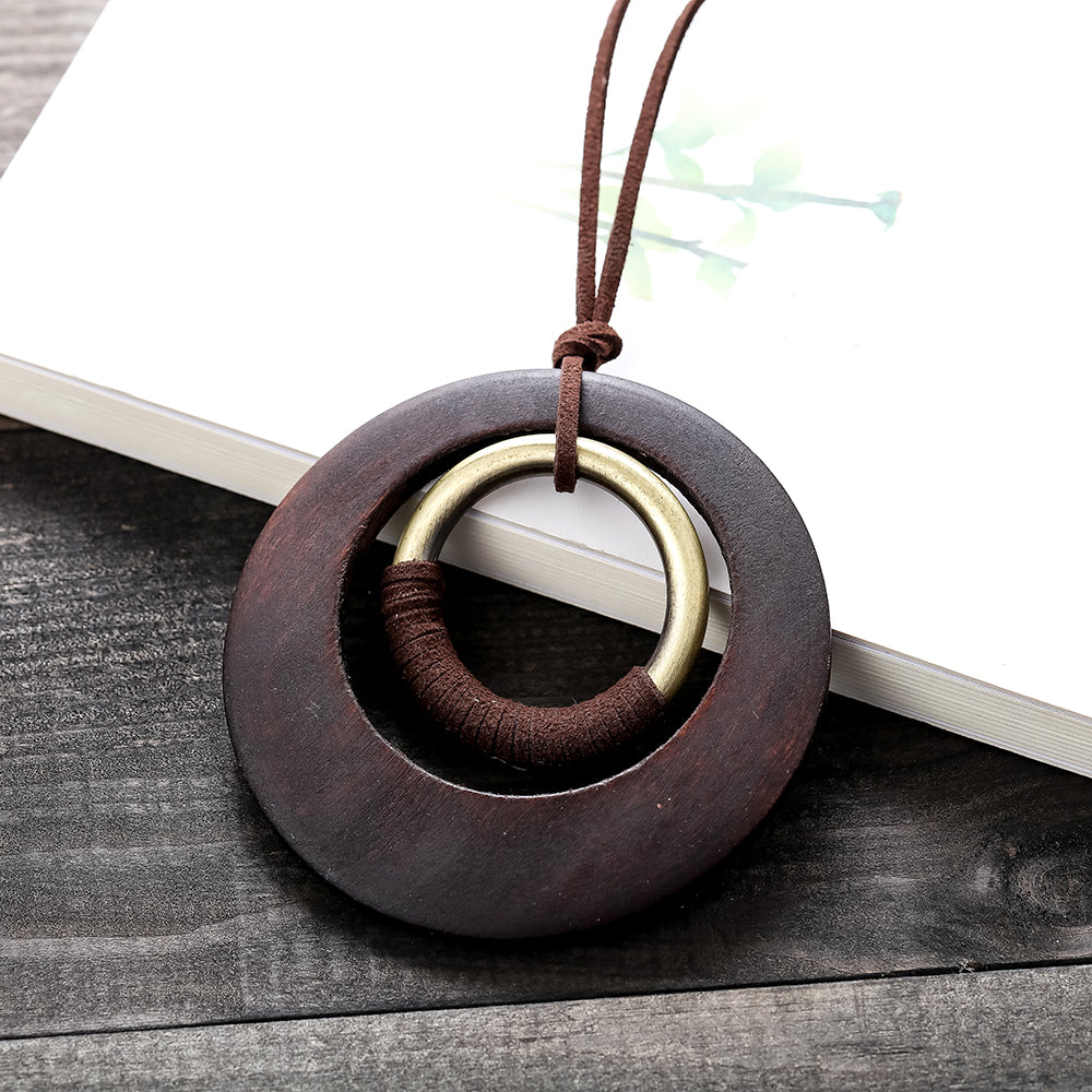 Vintage Wooden Circle Long Necklace - Valerian Boutique