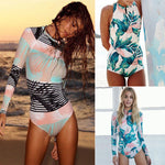 Print One Piece Swimsuit Long Sleeve Swimwear - Valerian Boutique