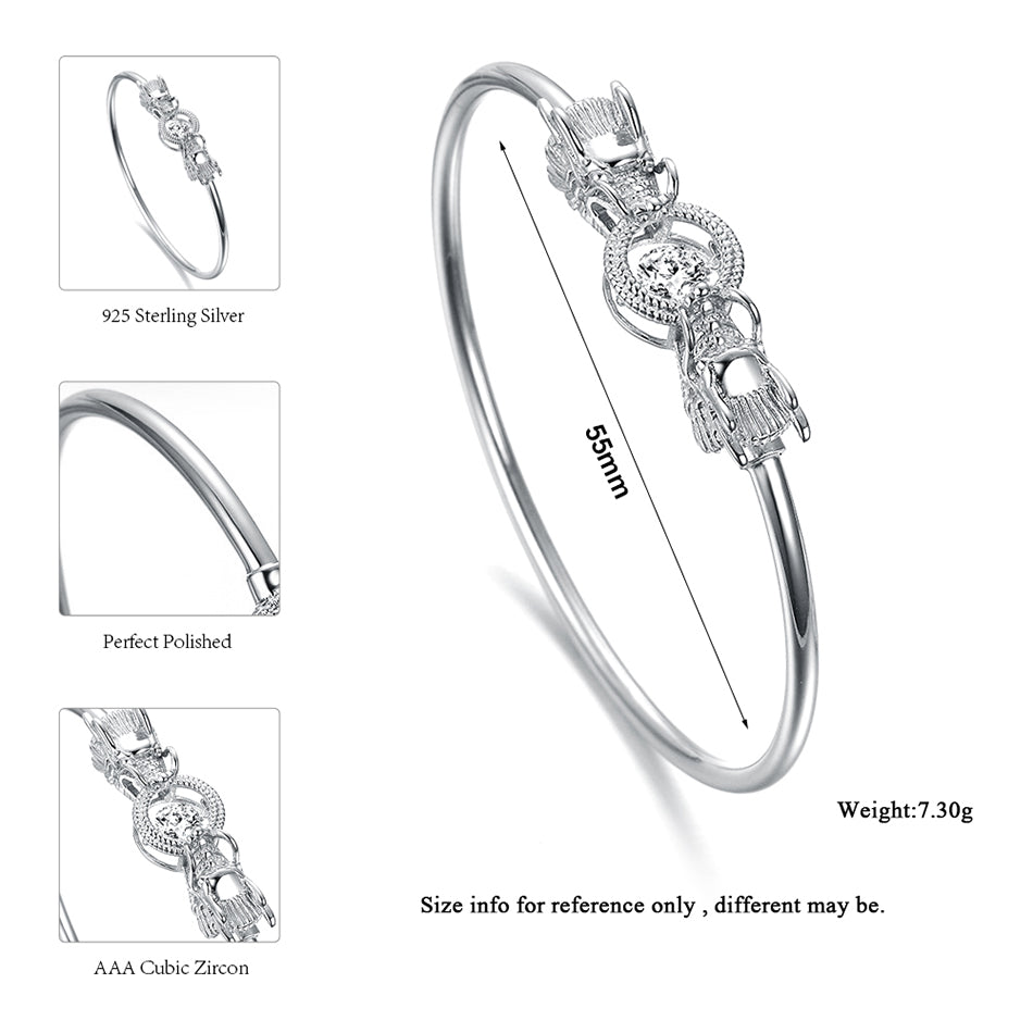 S925 Sterling Silver Double Dragons Design Bangle - Valerian Boutique