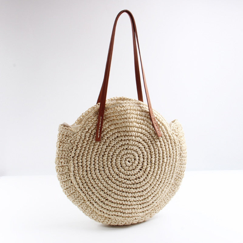 Round straw Rattan Casual Bag