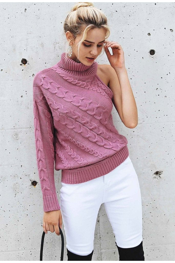 Turtleneck one shoulder knitted sweater - Valerian Boutique