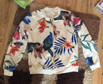 Retro Floral Zipper Up Bomber Jacket