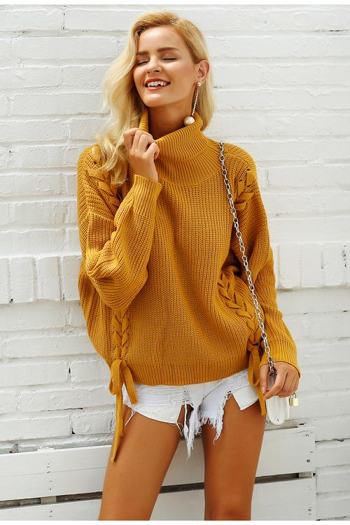 Lace up sweaters Turtleneck batwing sleeve pullover - Valerian Boutique