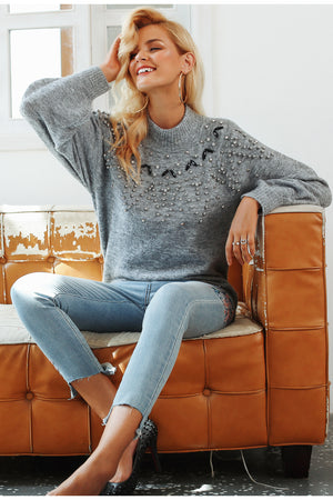 Turtleneck knitted sweater pullover - Valerian Boutique