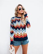 Rainbow Striped Sweater Long Sleeve Pullover