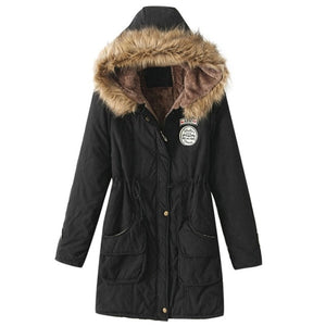 Faux Fur-Lined Hooded Winter Jacket Coat Button Zipper - Valerian Boutique