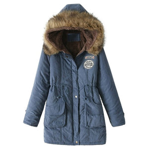 Faux Fur-Lined Hooded Winter Jacket Coat Button Zipper