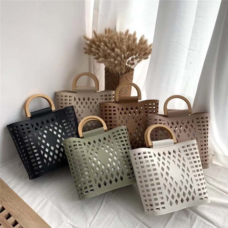 Hollow Out Beach Wood handle tote bag