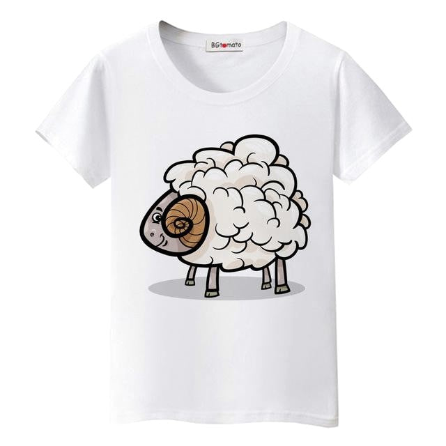 Lovely Little Sheep Cartoon T-Shirts - Valerian Boutique