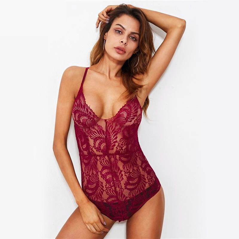 Lace Crisscross Bodysuit - Valerian Boutique