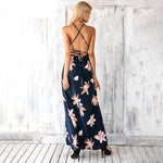 V Neck Backless Split Cross Sleeveless Dress - Valerian Boutique