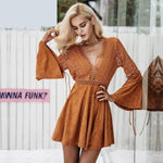 Lace up V Neck Suede Hollow out Long Sleeve Backless Dress - Valerian Boutique