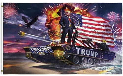 Badass Donald Trump Riding a TANK Flag for 2020 - Firework Tank Flag - Patriotic Source