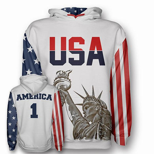 America #1 - Number One Liberty Hoodie - USA Flag Colors - Patriotic Source