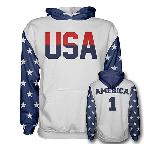 Retro Vintage USA First -America Number ONE Hoodie - Patriotic Source