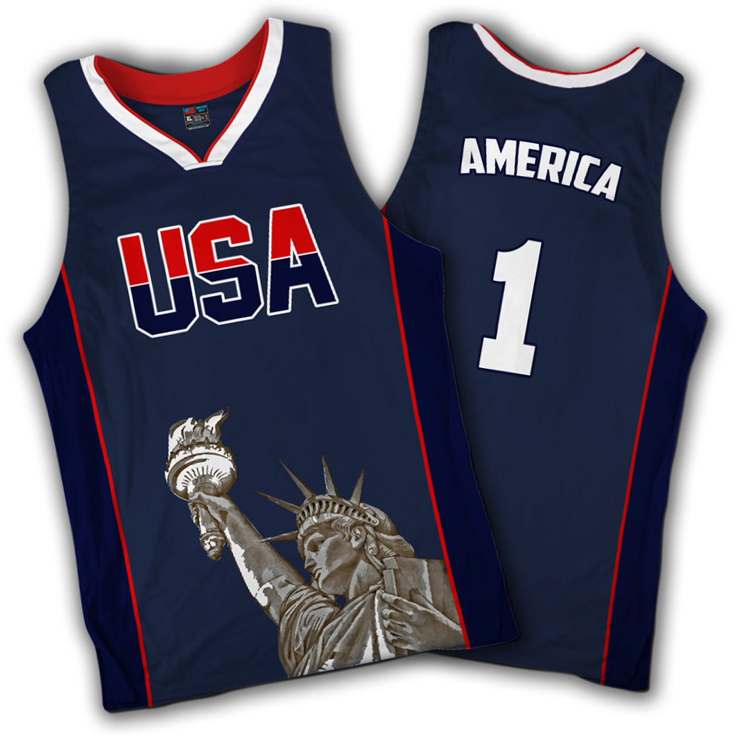 America Number One Liberty Basketball Jersey in Blue - Patriotic Source