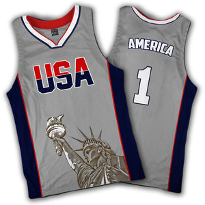 Limited Edition Grey America #1 Basketball Liberty Jersey - Patriotic Source