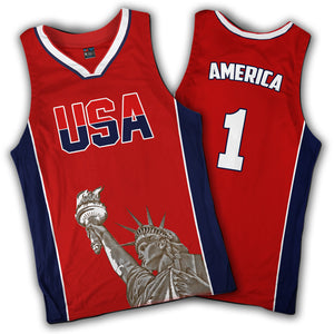 Red Basketball Liberty Jersey - America USA Number One - Patriotic Source