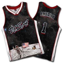 Team USA Galaxy Moon Landing Jersey - The Flag on the Moon Jersey - Patriotic Source