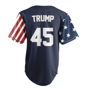 Limited Edition Blue Trump Number 45 Liberty Baseball Jersey - Patriotic Source